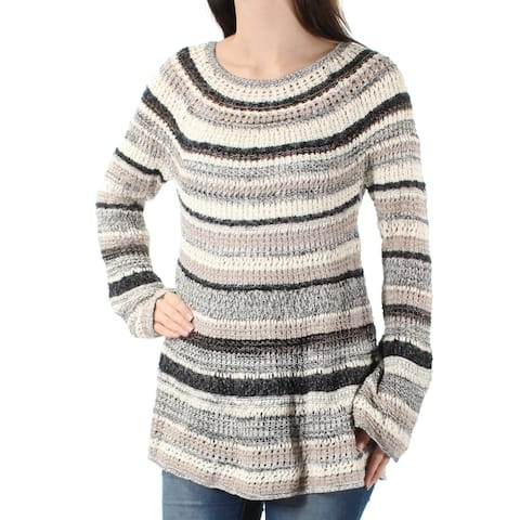 STYLE & CO Womens Brown Knitted Striped Kimono Sleeve Jewel Neck Sweater Size: S