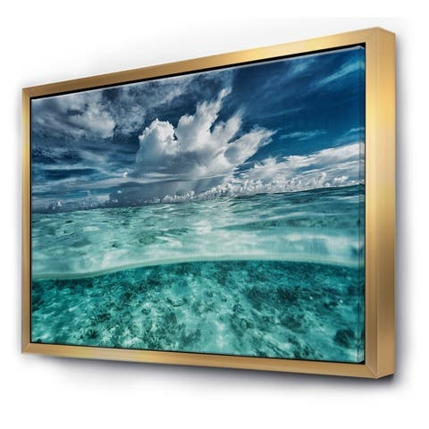 Designart 'Amazing Underwater Seascape And Clouds' Nautical & Coastal Framed Canvas Wall Art Print