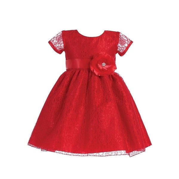 3eac40df60997 Lito Girls Lace Covered Glitter Center Flower Accent Christmas Dress