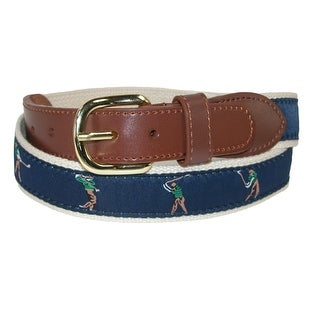 CTM® Men's Fabric with Ribbon Inlay Perfect Swing Golf Belt
