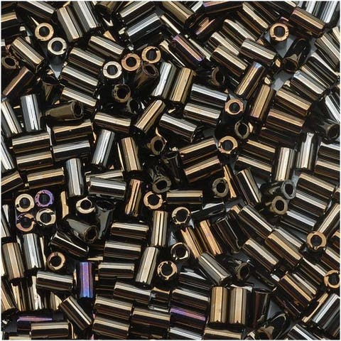 Toho Bugle Tube Beads Size 1 / 2x3mm Metallic iris Brown 8 Grams