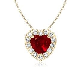 Prong-Set Diamond Halo Heart Shaped Ruby Pendant