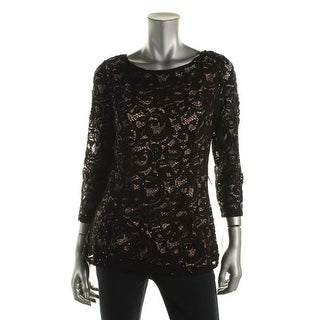 Onyx Nite Womens Lace Sequined Dress Top - L