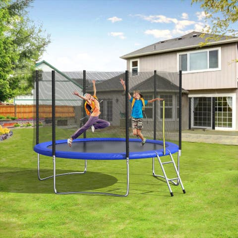 Outdoor Trampoline With Enclosure And Ladder Exercise Fitness