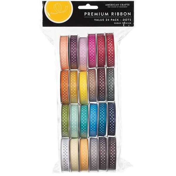 "Premium Ribbon Value Pack .375""X4' 24/Spools-Dot Grosgrain"