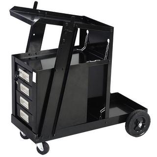 Costway 4 Drawer Cabinet Welding Welder Cart Plasma Cutter Tank Storage MIG TIG ARC - Black