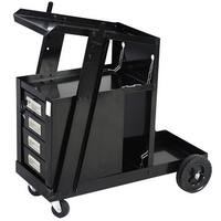 Costway 4 Drawer Cabinet Welding Welder Cart Plasma Cutter Tank Storage MIG TIG ARC - Black