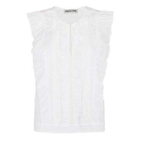 St. Roche Womens White Ruffle Top