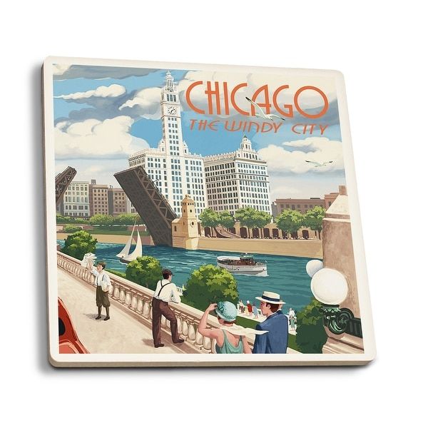 Chicago, IL - River View - LP Artwork (Set of 4 Ceramic Coasters)