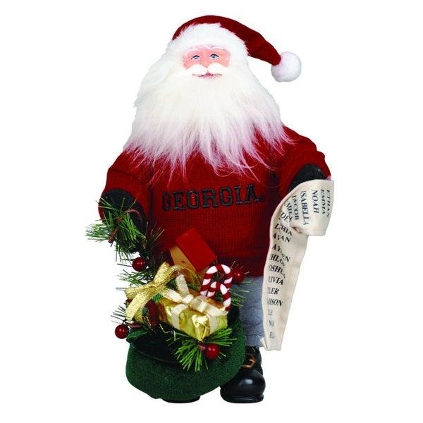 "10"" NCAA Georgia Bulldogs Gift Bearing Santa Claus Christmas Table Top Figure"
