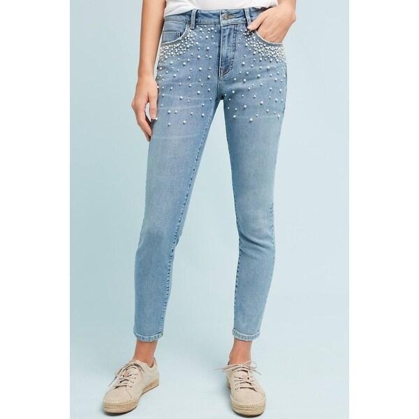 887a3aee8073fd Shop Anthropologie Pilcro Script High-Rise Pearl Skinny Jeans - Blue ...