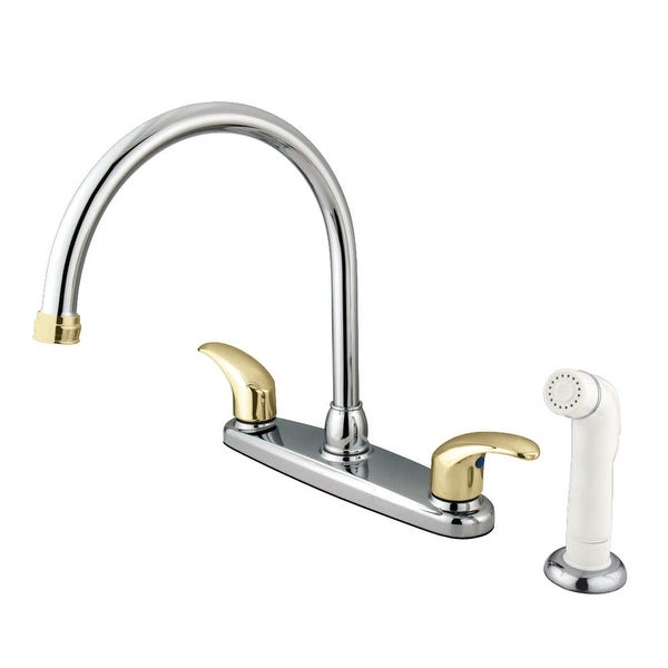 Kingston Brass KB679.LL Legacy Centerset Gooseneck Kitchen Faucet with Metal Lever Handles and Side Spray
