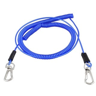 Plastic Stretchy Coiled Fishing Safety Lanyard Rope Blue 16.4Ft