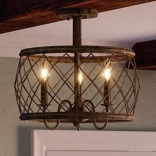 "Luxury French Country Semi-Flush Ceiling Light, 14.5""H x 15""W, with Shabby Chic Style, Gold Accented Silver Leaf Finish"