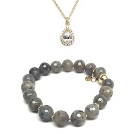 "Julieta Jewelry Set 10mm Grey Labradorite Sophia 7"" Stretch Bracelet & 12mm Teardrop CZ Charm 16"" 14k Over .925 SS Necklace"
