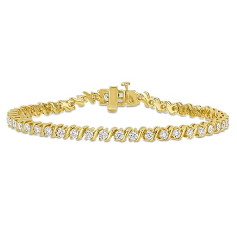 Miadora 2 3/4ct DEW Moissanite S-Link Tennis Bracelet in Yellow Plated Sterling Silver - 7.25 in x 4.1 x 2.9 mm