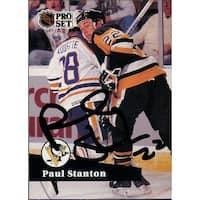 Signed Stanton Paul Pittsburgh Penguins 1991 Pro Set Hockey Card autographed