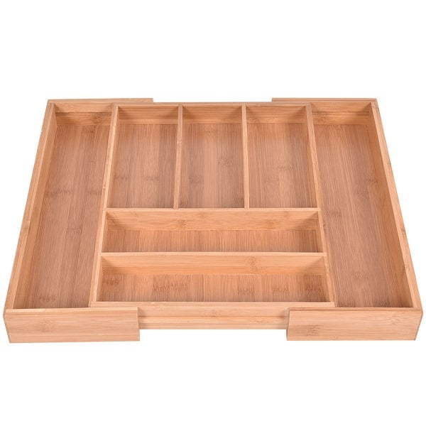 Costway Bamboo Kitchen Drawer Organizer Expandable Tableware Storage Box Spoon Container