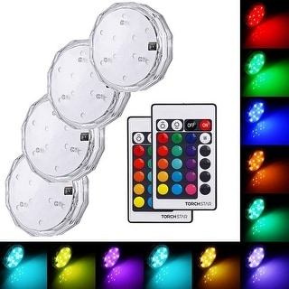 Submersible LED Lights, Battery Operated Wireless Multi-Color Underwater Lights, Pack of 4