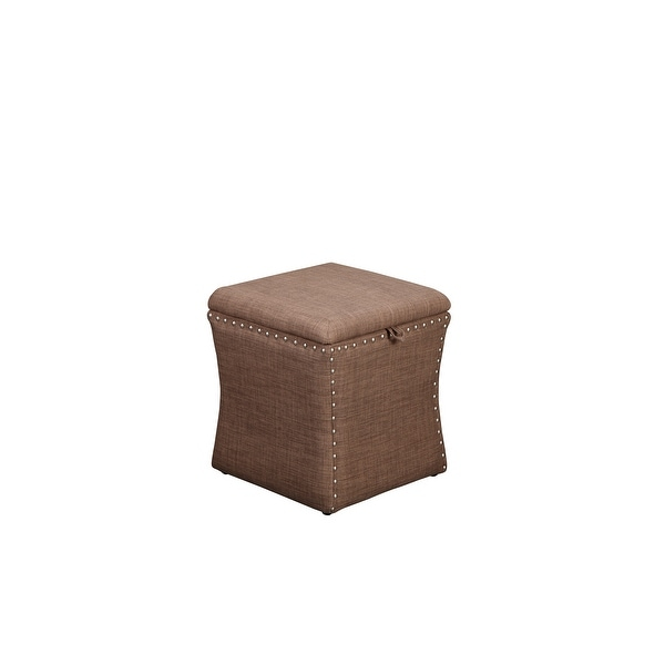 Fabric Upholstered Lift Top Storage Wooden Ottoman with Nail head Decorative Base, Brown