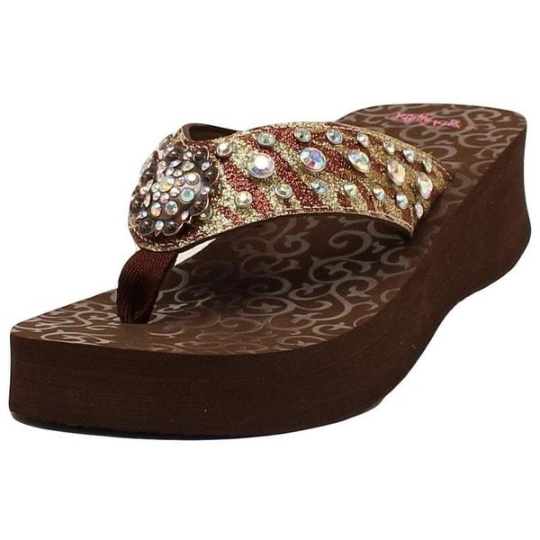 Blazin Roxx Western Shoes Women BreAnn Flip Flops Concho Brown