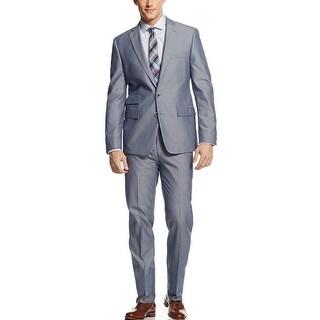 Ryan Seacrest Distinction Slim Fit Blue Cotton Suit 36 Short 36S Pants 29W