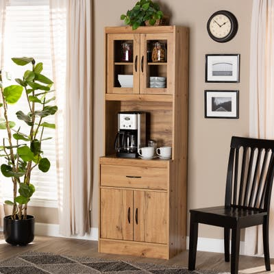 Laurana Modern and Contemporary Kitchen Wood Cabinet and Hutch
