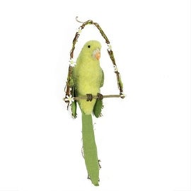 """23"""" Yellow Green and Brown Parrot on Arch Swing Spring Hanging Decoration"""