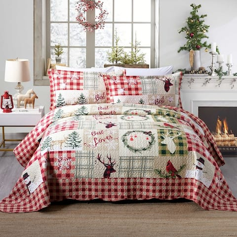 Rustic Patchwork Christmas Quilt Bedspread Set