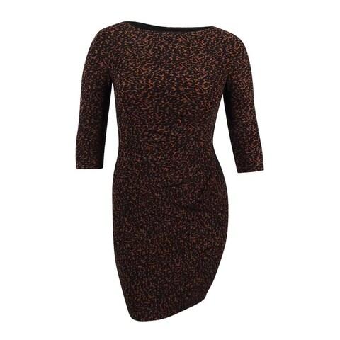 Lauren Ralph Lauren Women's Petite Jersey Sheath Dress - caramel/black