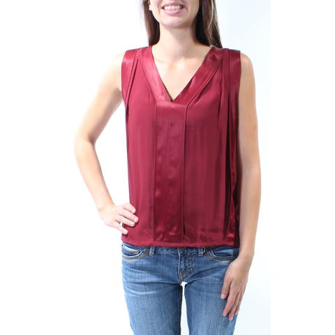 STUDIO M Womens Maroon Sleeveless V Neck Top Size: XS