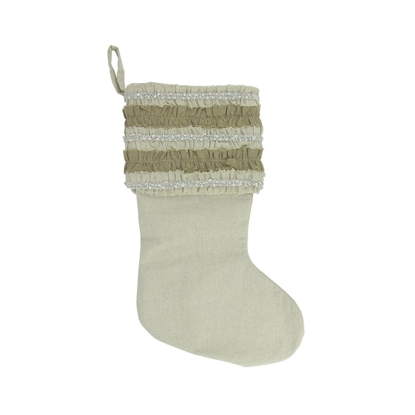 """21"""" Rustic Glamour Natural Tan Christmas Stocking with Beaded Ruffled Cuff - brown"""