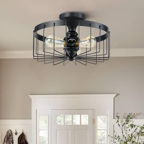 CO-Z Industrial Ceiling Light Fixture 15-Inch Semi Flush Mount - Black