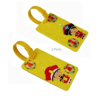 JAVOedge 2 Pack Yellow Emperor Character Cute Luggage Tags for Travel, Vacation, Carry On with Adjustable Strap