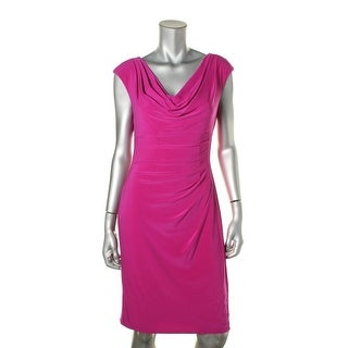 Lauren Ralph Lauren Womens Matte Jersey Ruched Wear to Work Dress