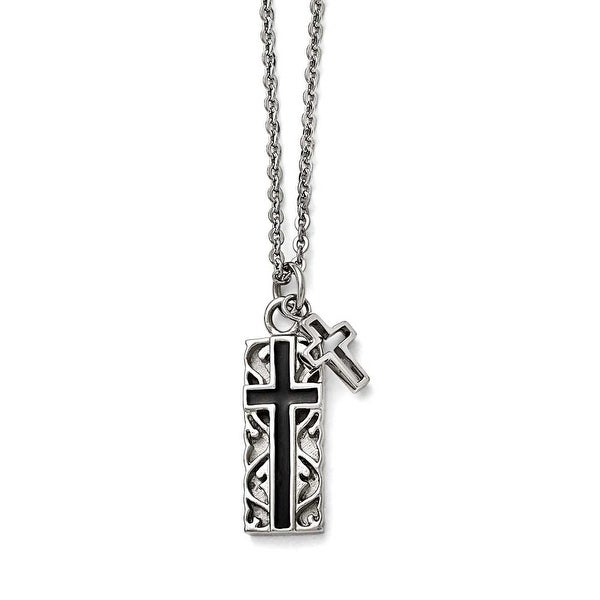 Chisel Stainless Steel Polished Black IP-plated Two-piece Cross Necklace - 20 in