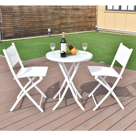 Costway 3 PCS Folding Bistro Table Chairs Set Garden Backyard Patio
