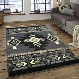 """Allstar Grey Woven High Quality High Density Double Shot Drop-Stitch Carving (5' 2"""" x 7' 2"""")"""