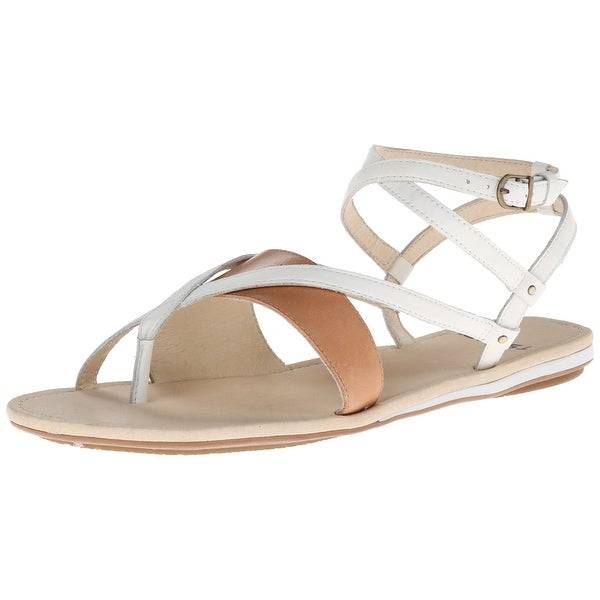 Tsubo NEW White Brown Shoes Size 6M Strappy Leather Sandals
