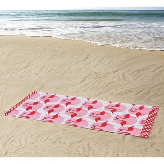 ClaireBella Flamingos Paradise Design Cotton Beach Towel, Pink, 36x72 Inches - Pink