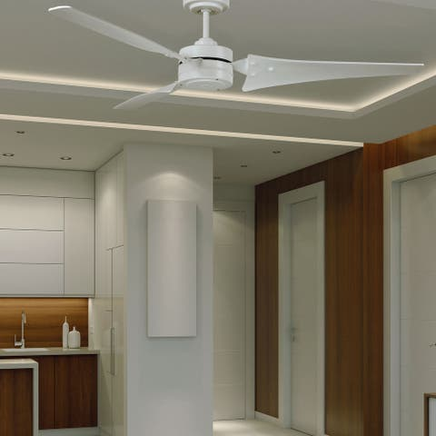 Large Indoor/Outdoor Ceiling Fan 60 Inch Fixture with Reversible Motor, 3 Blades, and Downrod Industrial Design