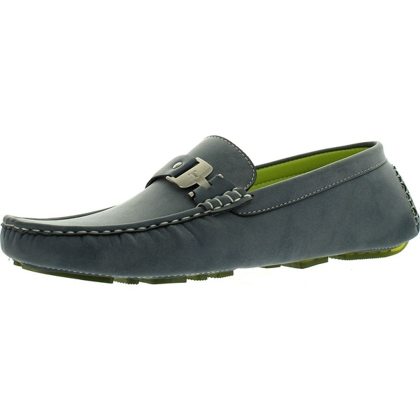 Coronado Men Casual Shoe Moc-5 Driving Moccasin With Stitched Toe And Buckle Details - Grey