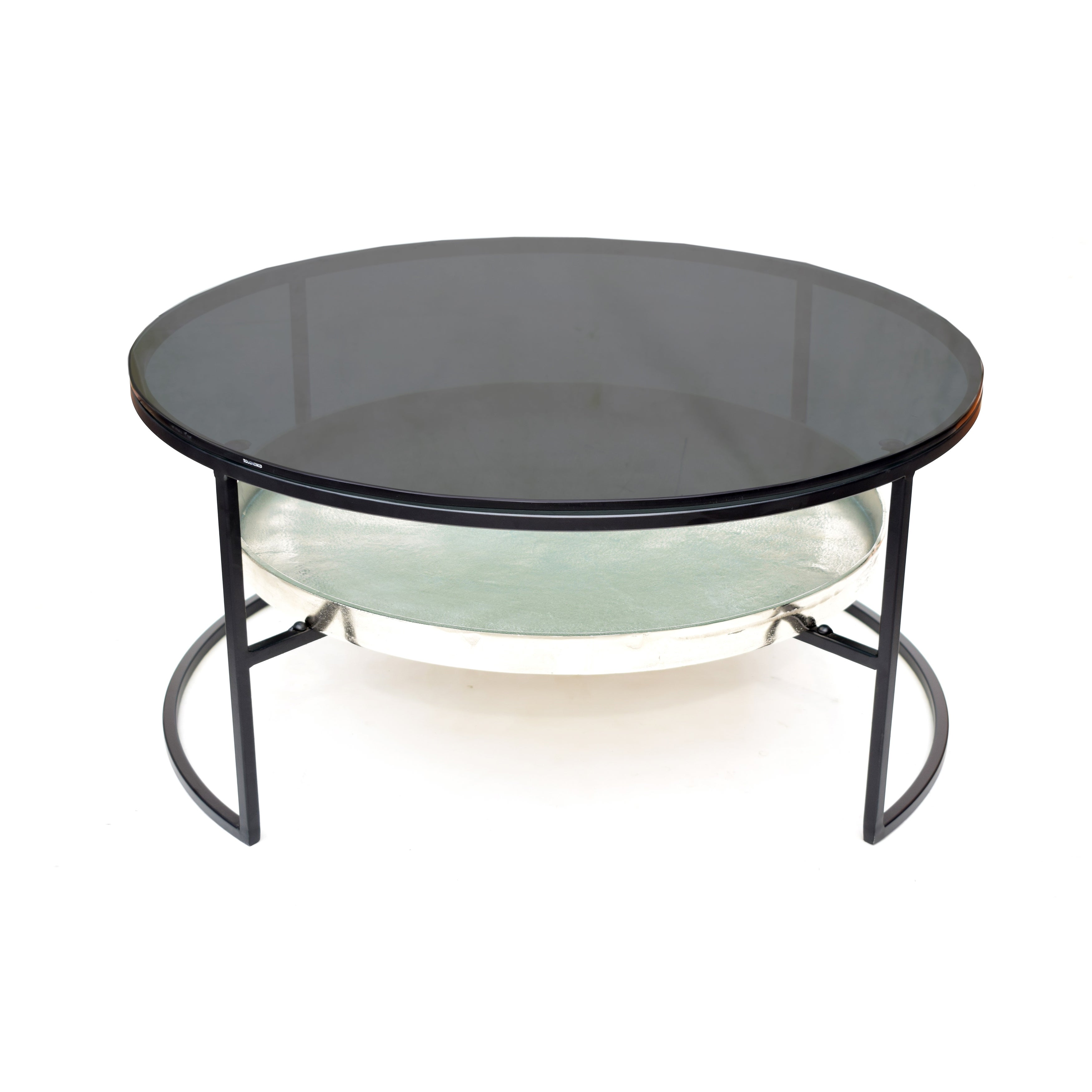 Smart Black Nickle Coffee Table With Smoke Glass On Sale Overstock 32193816