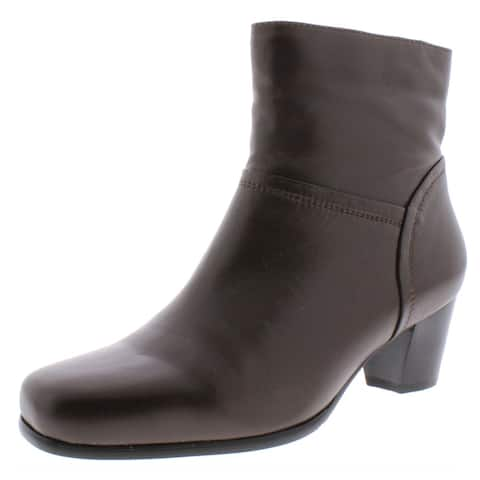 David Tate Womens Model Ankle Boots Leather Block Heel