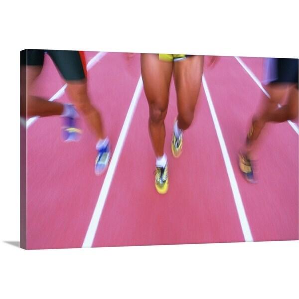 """shot of athletes feet running"" Canvas Wall Art"