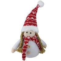 "8.5"" Brown Pigtail Table Top Christmas Gnome Decoration - WHITE"