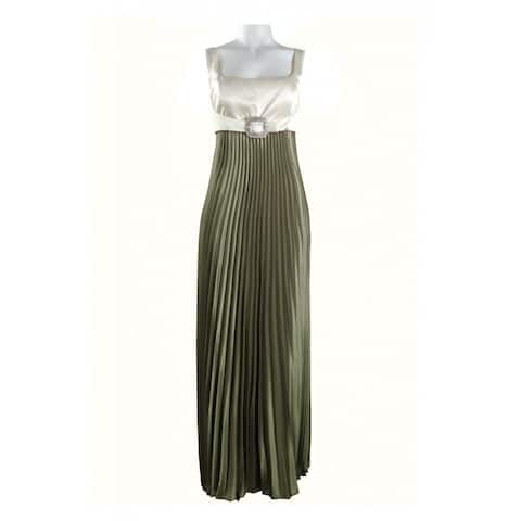 JS Collections Accordion Pleat Satin Dress With Buckle Detail, Multi, 16