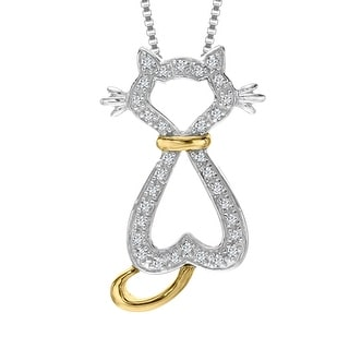 1/10 ct Diamond Cat Pendant in Sterling Silver and 10K Gold