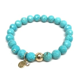 Turquoise Magnesite 'Zoe' Stretch Bracelet 14k over Sterling Silver
