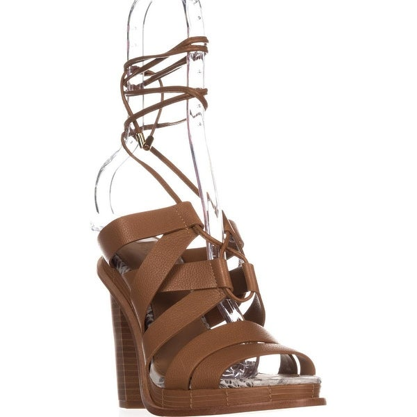 Calvin Klein Panelope Lace Up Sandals, Almond Tan - 7 us / 37 eu
